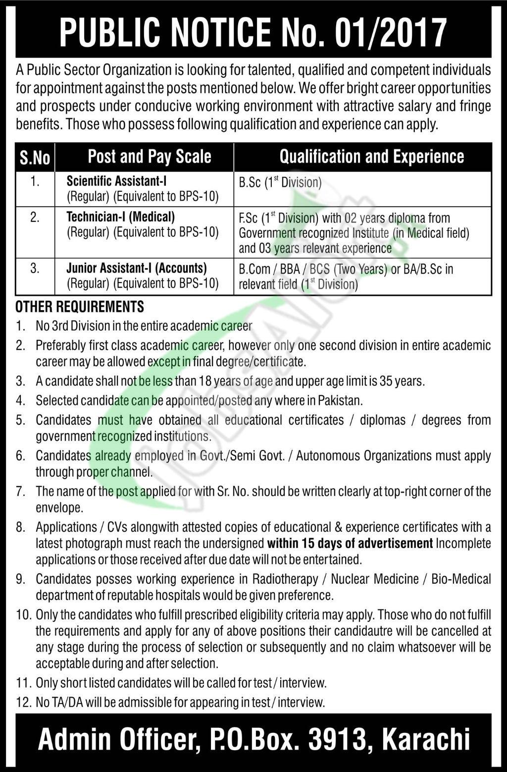 PO Box 3913 Karachi Jobs
