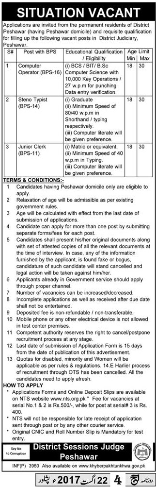 District and Session Court Peshawar Jobs