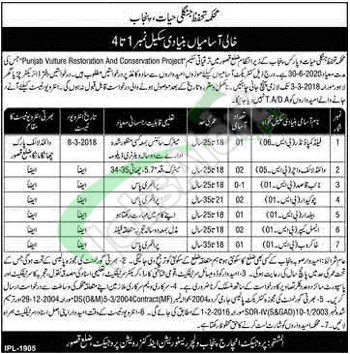 Here you'll get Wildlife Protection Department Punjab Jobs