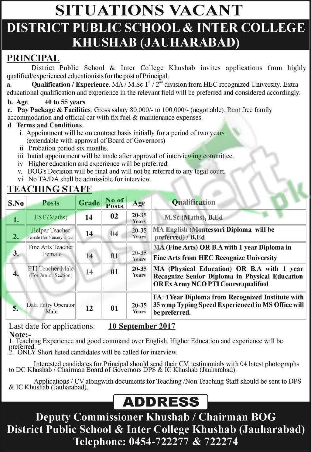 Jobs in DPS & Inter College Khushab 2017 Current Offers | Jobs in ...