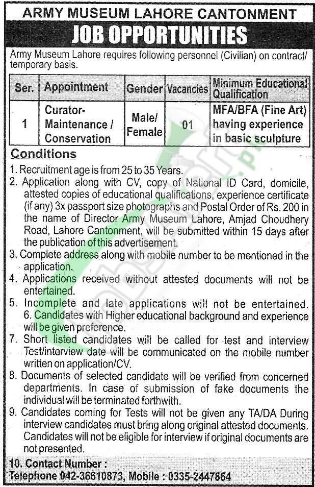 Army Museum Lahore Jobs