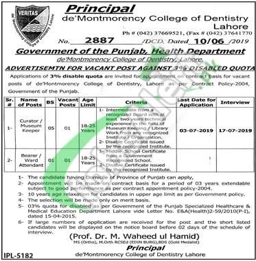 De'Montmorency College of Dentistry Lahore Jobs