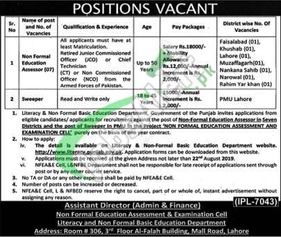 Literacy & Non-Formal Basic Education Department Jobs 2019 Govt of Punjab