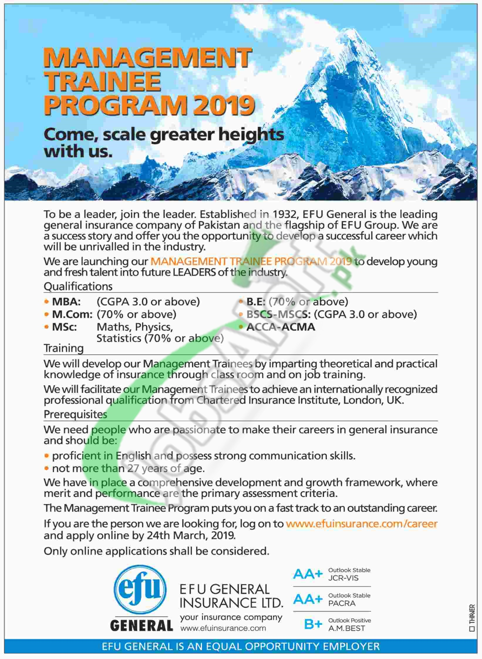EFU Management Trainee Program 2019