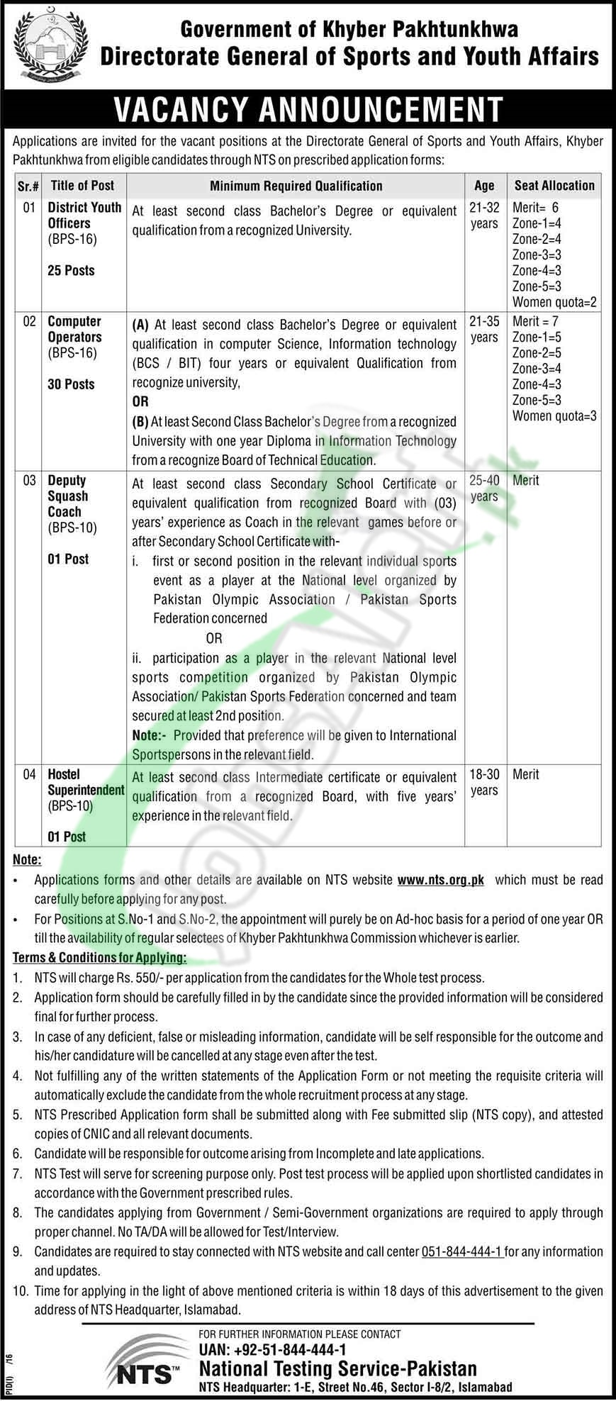 Jobs in KPK Directorate General of Sports and Youth Affairs
