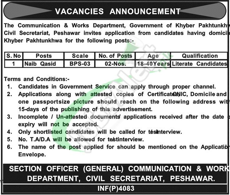 Communication & Works Department KPK Jobs