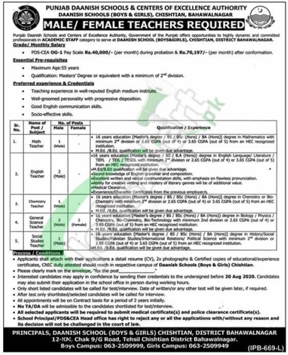 Daanish School & Centres of Excellence Authority Punjab Jobs
