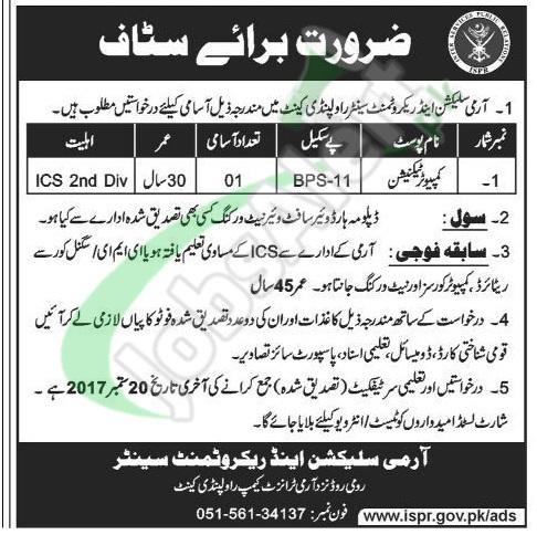 Pak Army Selection and Recruitment Centre Rawalpindi Jobs