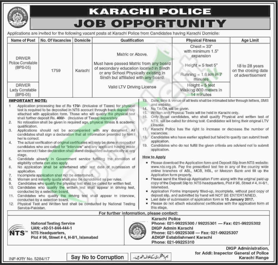Karachi Police Constable Driver Jobs 2018 Application Form Download