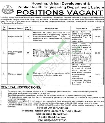 Public Health Engineering Department Punjab Jobs
