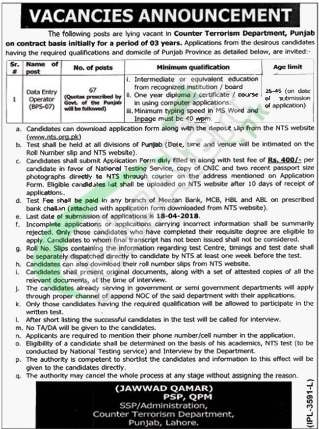 CTD Jobs in Punjab 2018