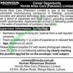 Honda Atlas Cars Pakistan Jobs 2018