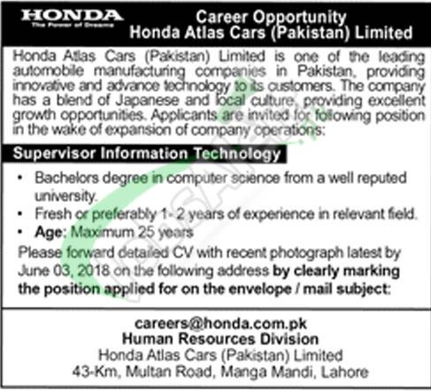 Honda Atlas Cars Pakistan Jobs 2018