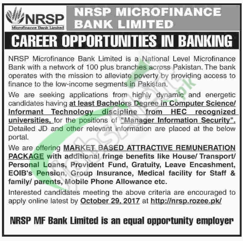 NRSP Microfinance Bank Jobs