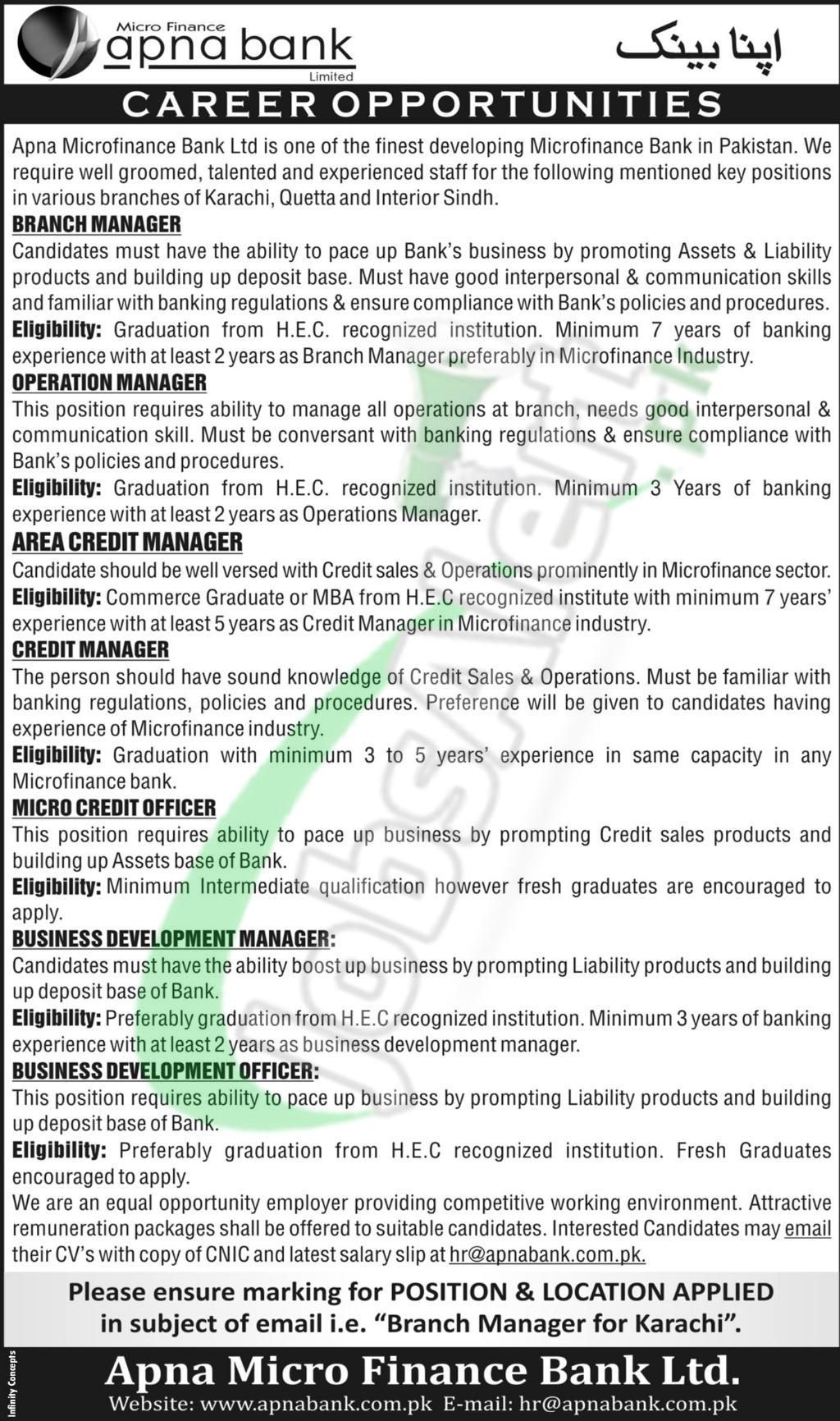 Apna Bank Jobs 2018