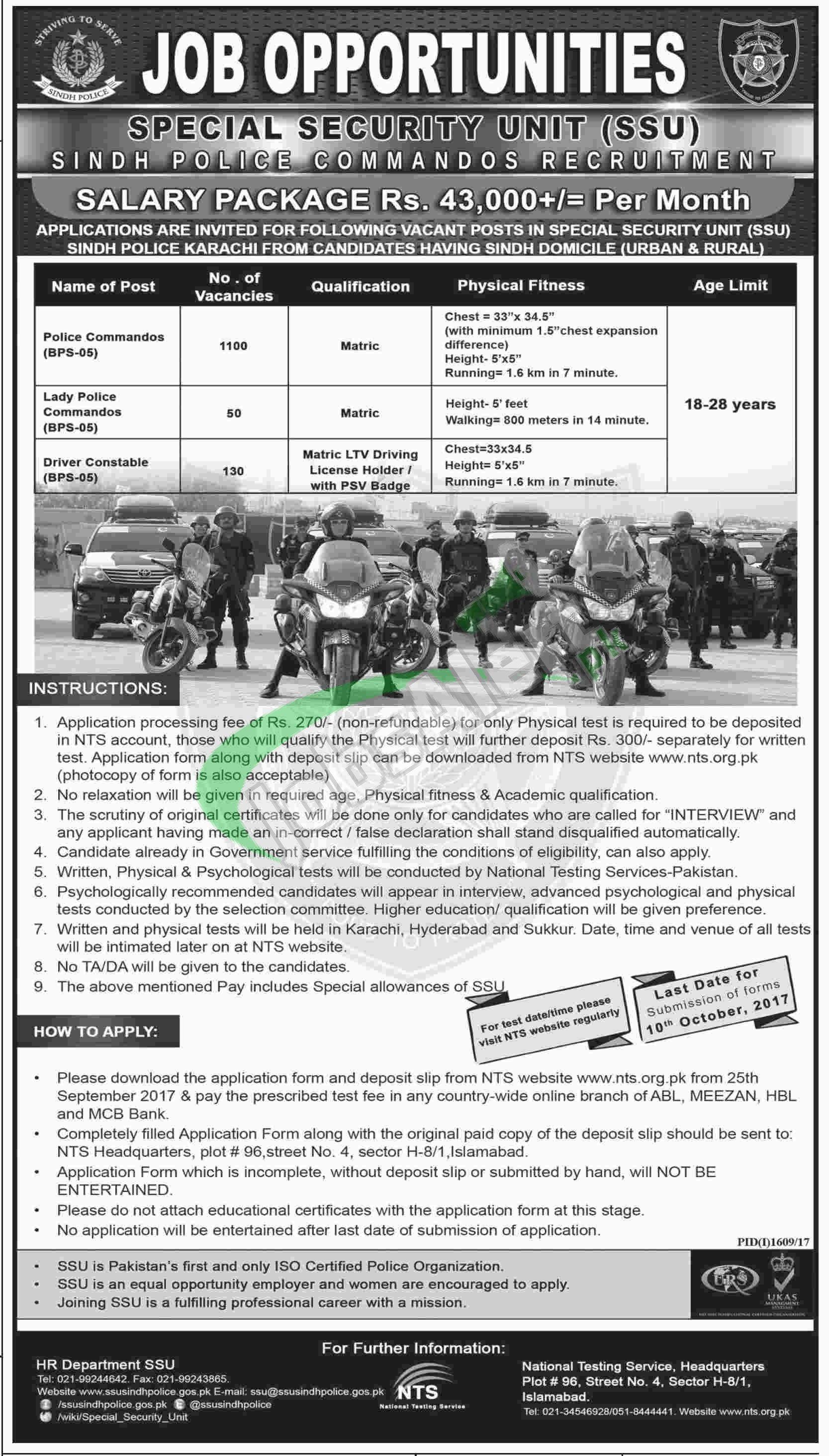 SSU Sindh Police Jobs 2017