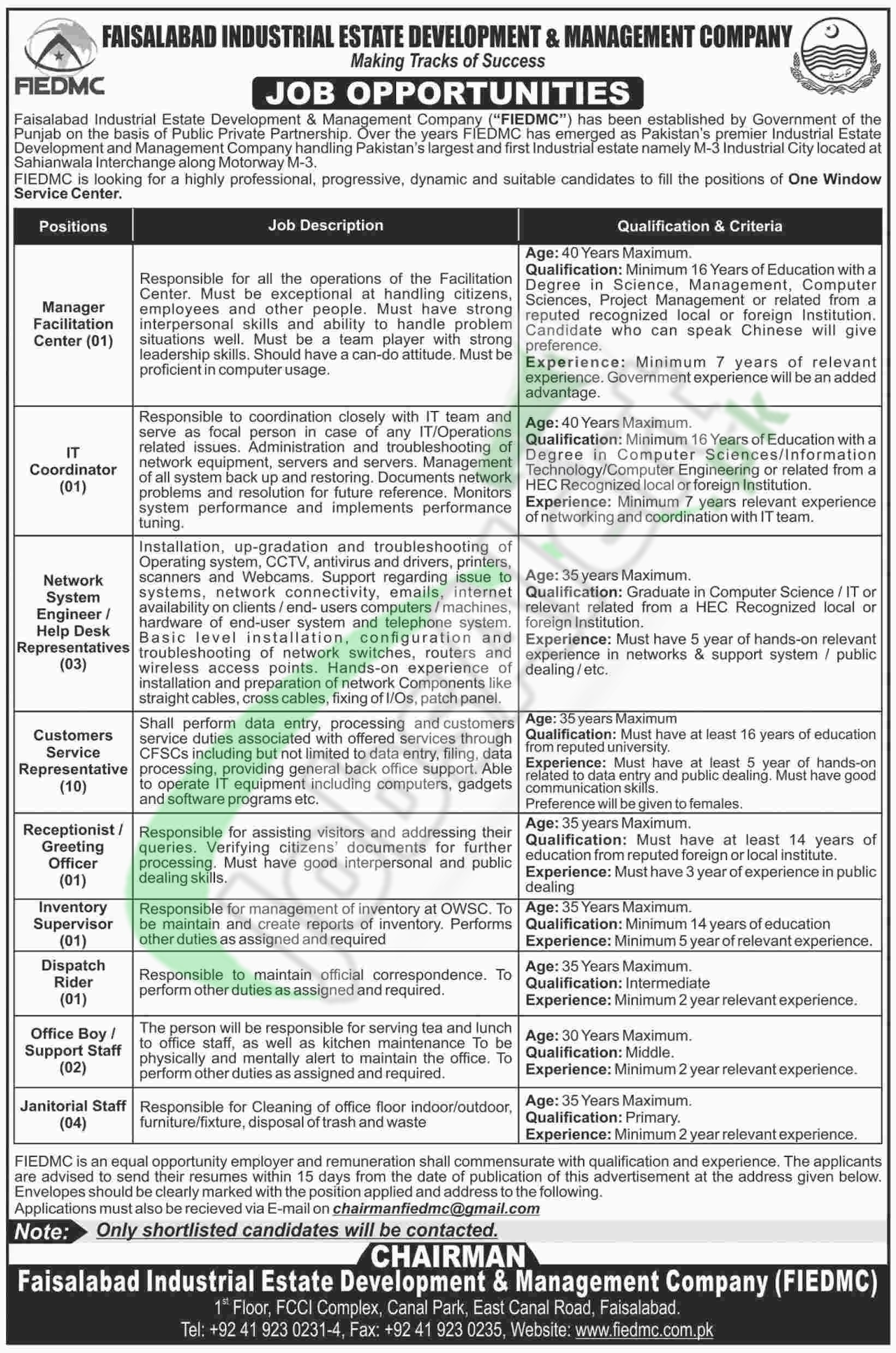 Faisalabad Industrial Estate Jobs