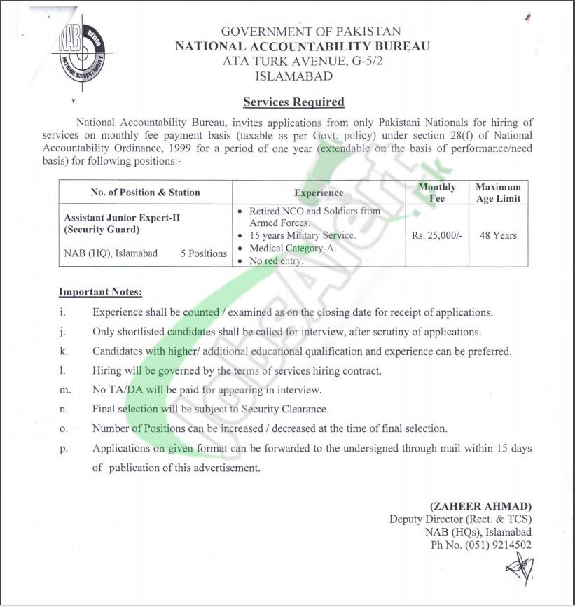 NAB Islamabad Jobs