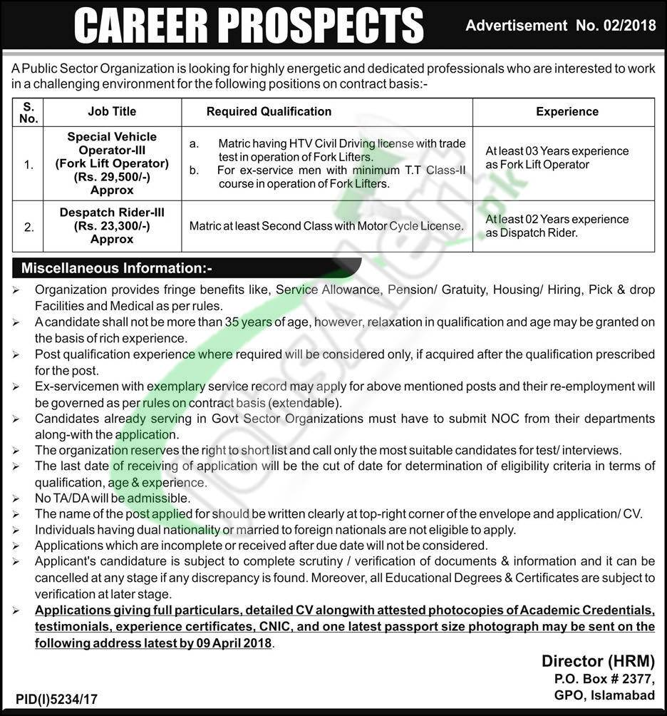 Government Jobs in Islamabad 2018.