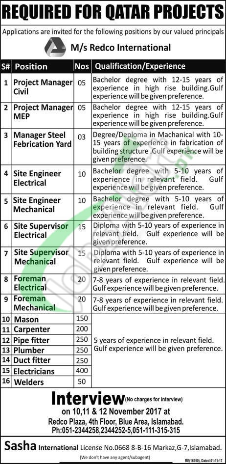 REDCO International Qatar Jobs