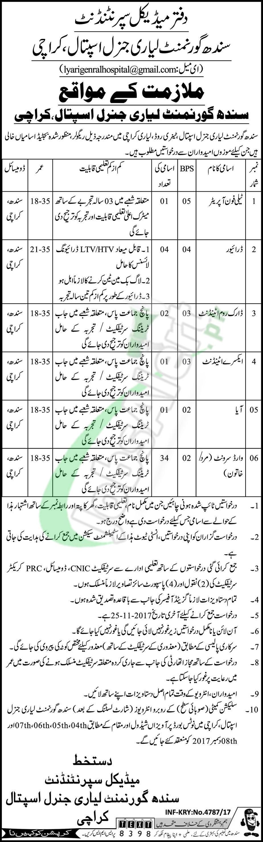 Lyari General Hospital Karachi Jobs