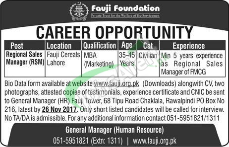 Fauji Foundation Jobs