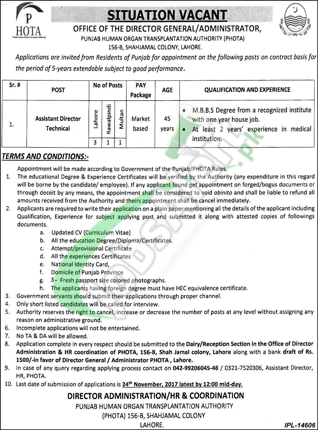 Punjab Human Organ Transplantation Authority Jobs