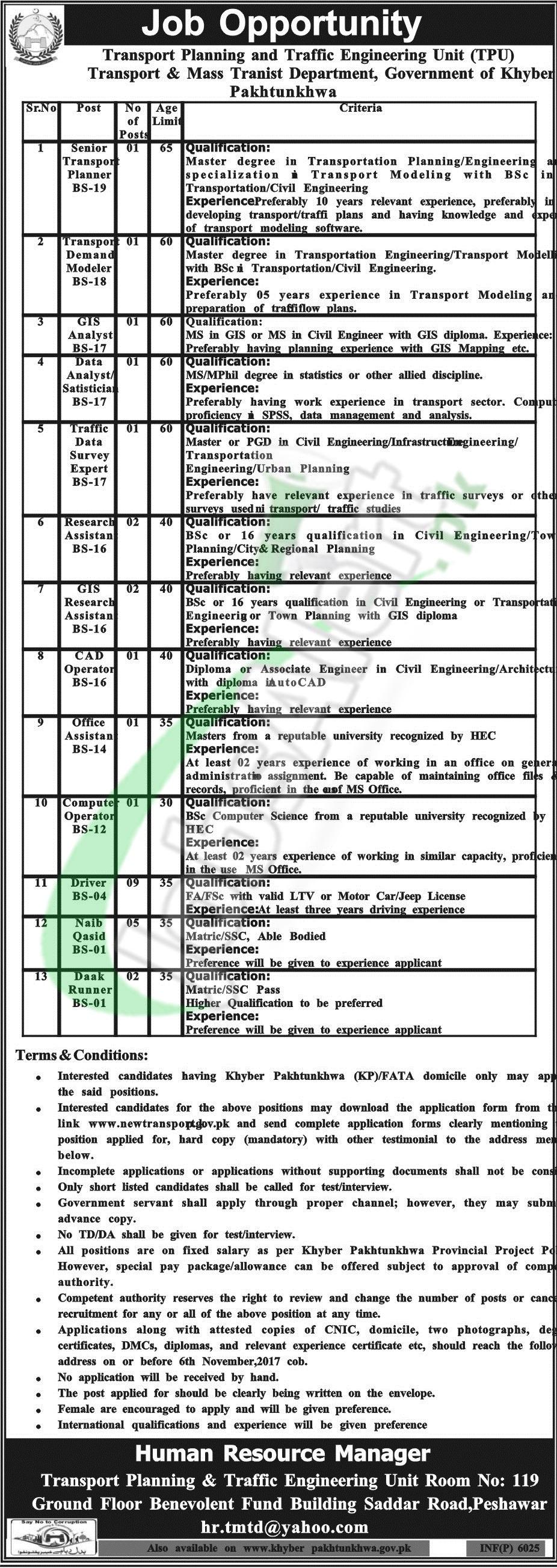 Transport Planning & Traffic Engineering Unit Peshawar Jobs 2017 ...
