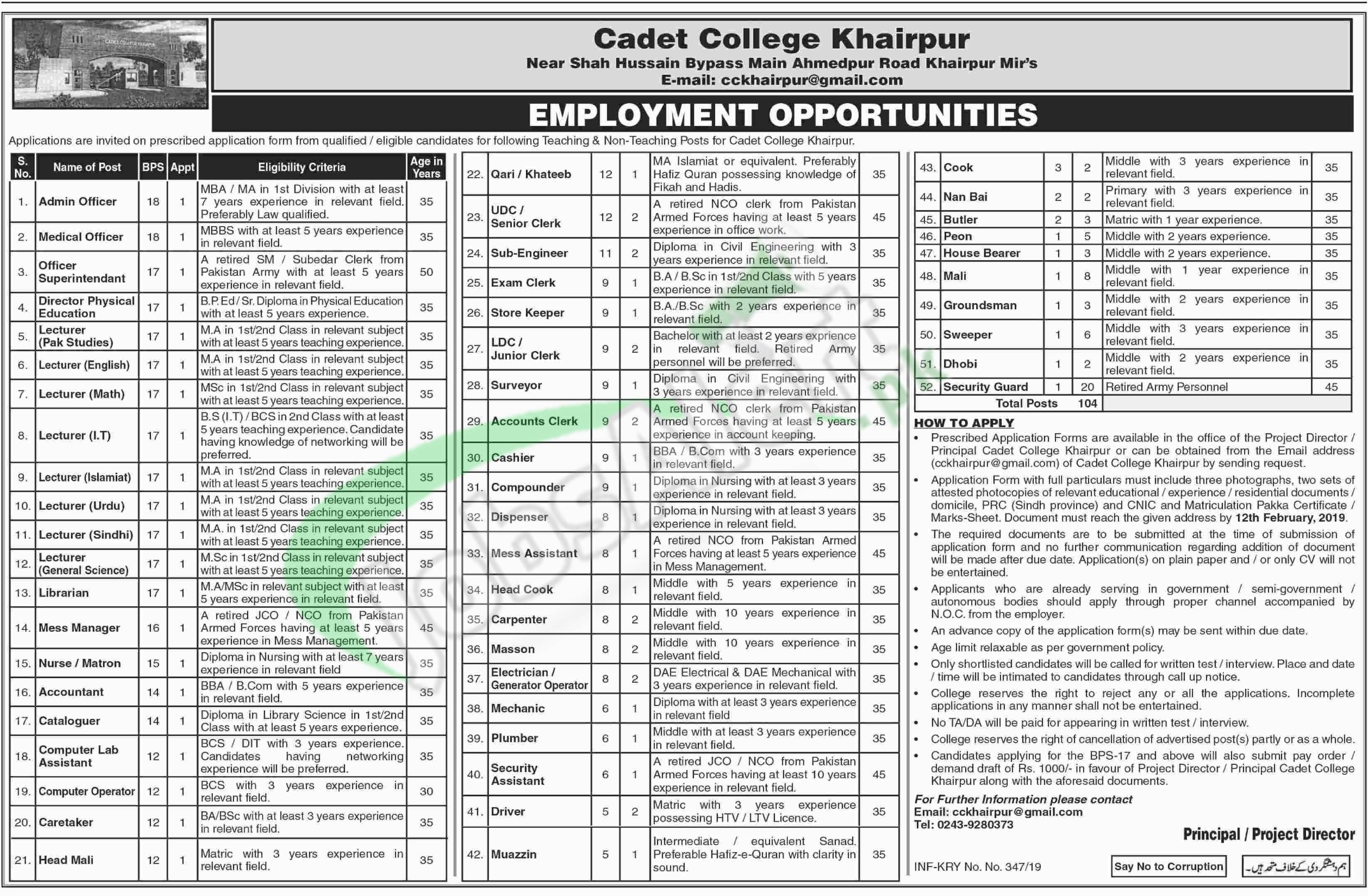 Cadet College Khairpur Jobs