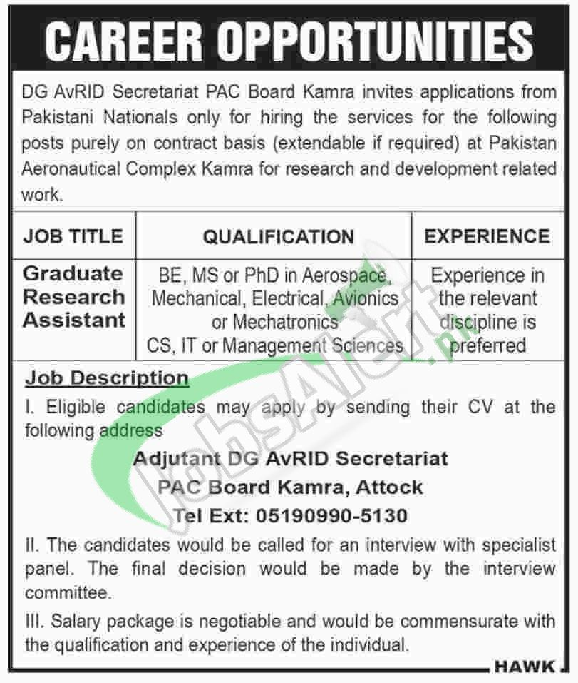 Jobs In Pac Kamra  For Graduate Research Assistant  Jobs In