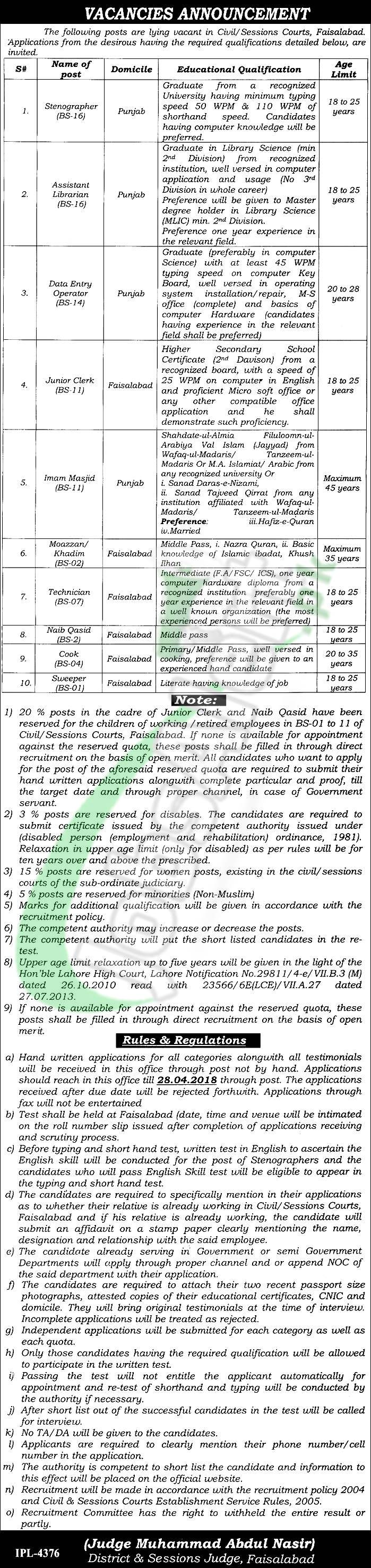 Session Court Faisalabad Jobs