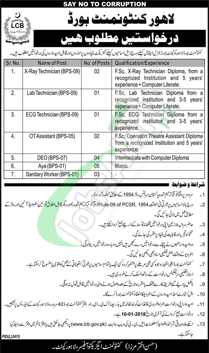 Cantonment Board Lahore Jobs