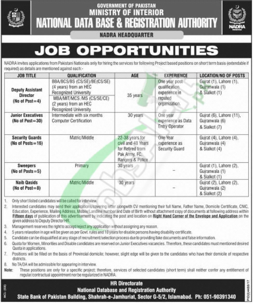 NADRA Jobs 2018