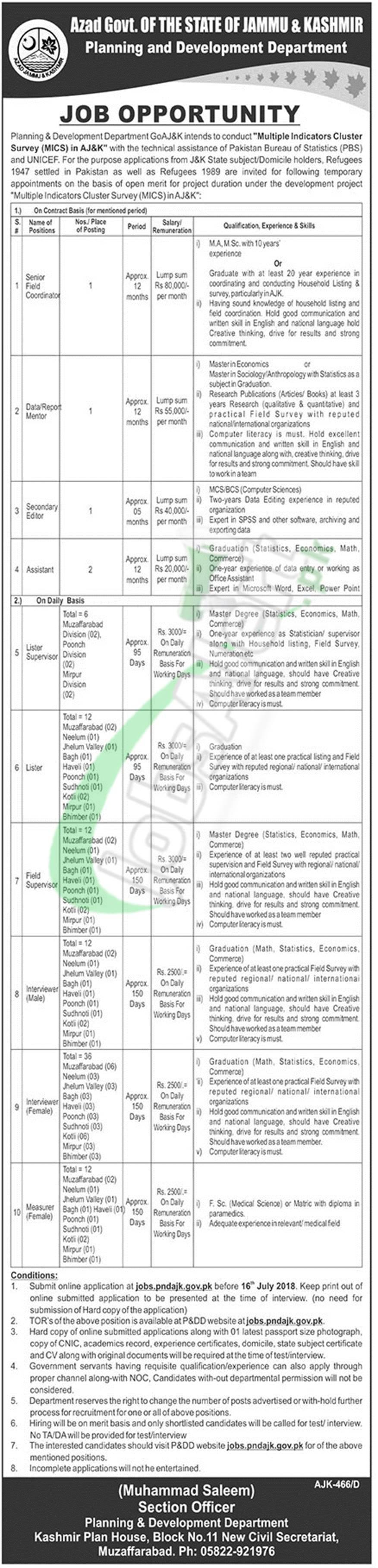 Planning and Development Department AJK Jobs