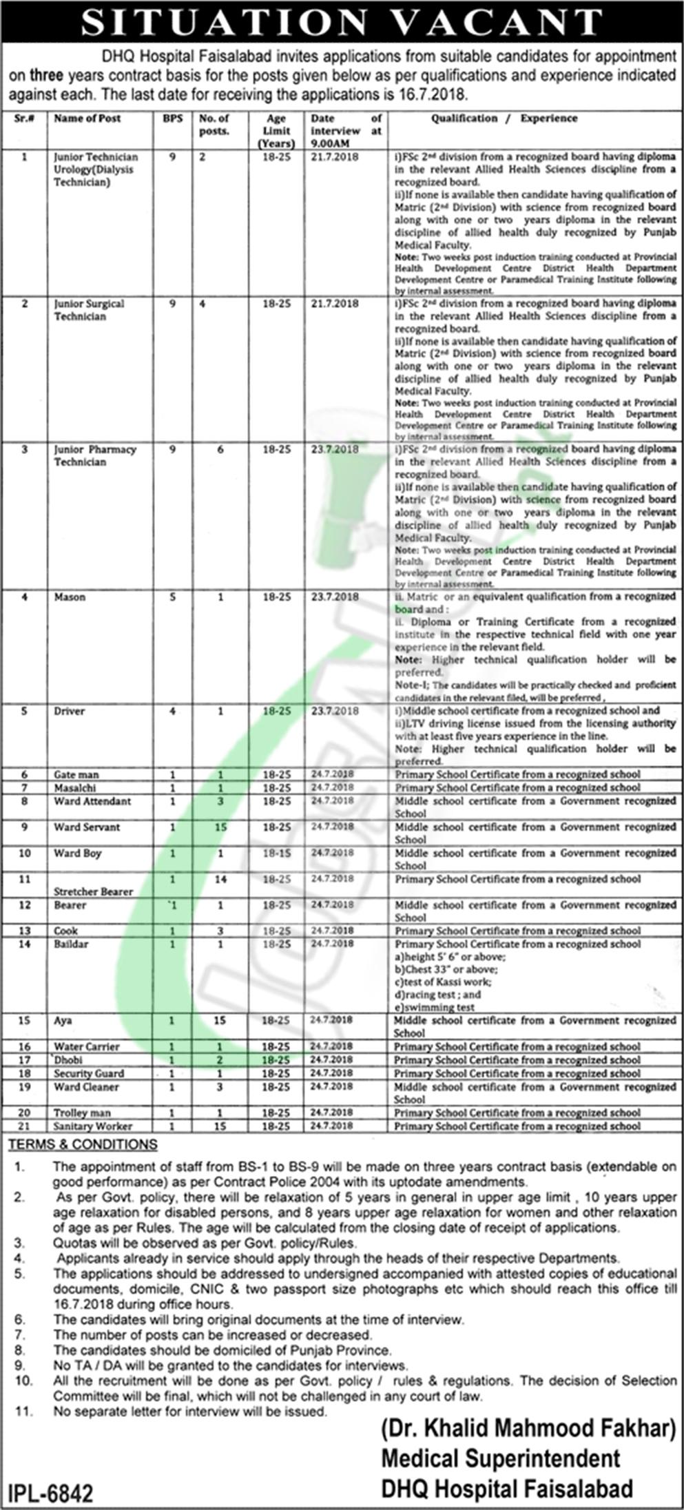 DHQ Faisalabad Jobs