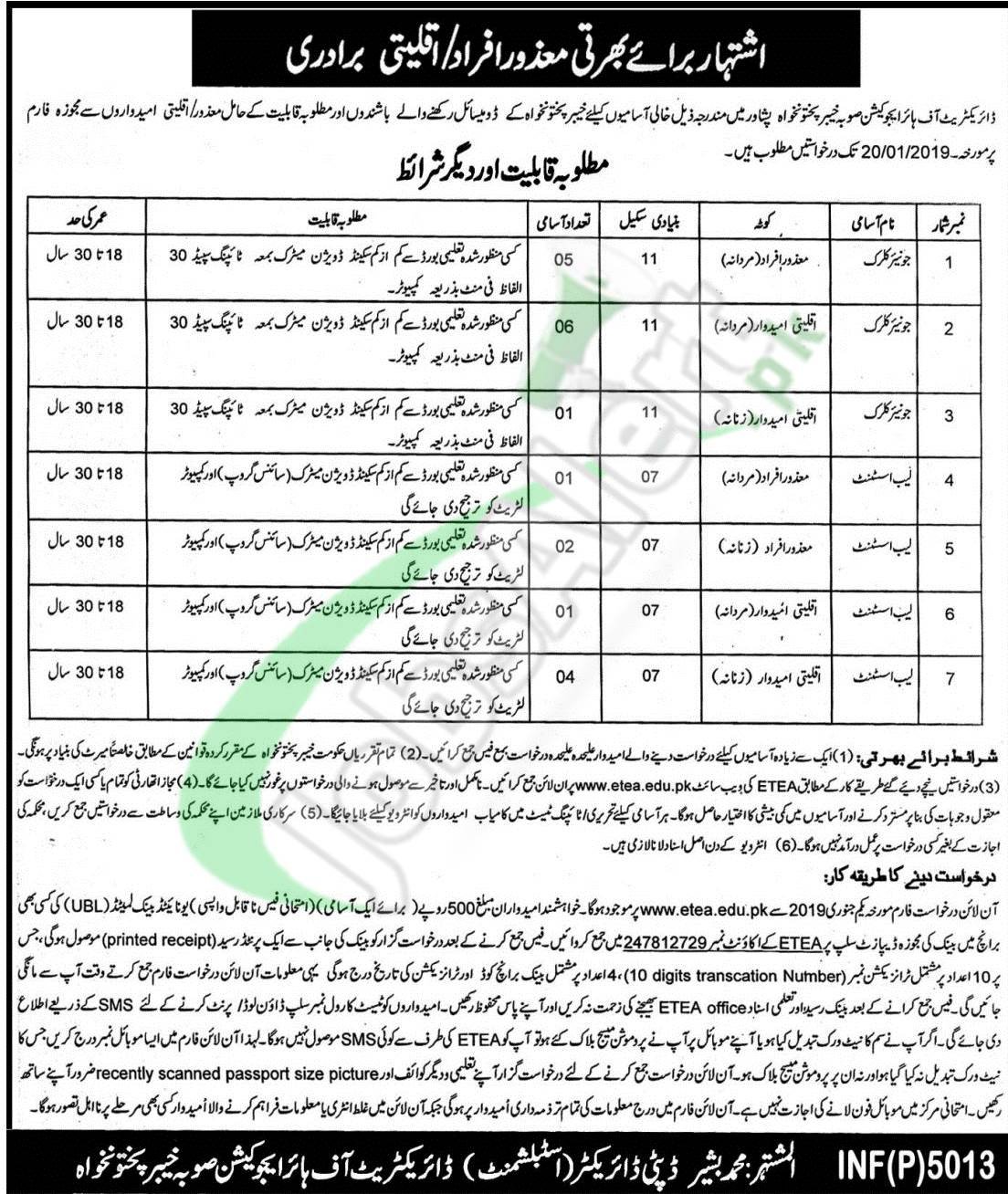 Directorate of Higher Education KPK Jobs 2019