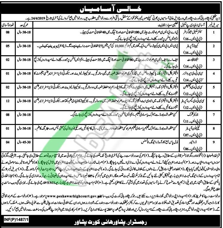 High Court Peshawar Jobs
