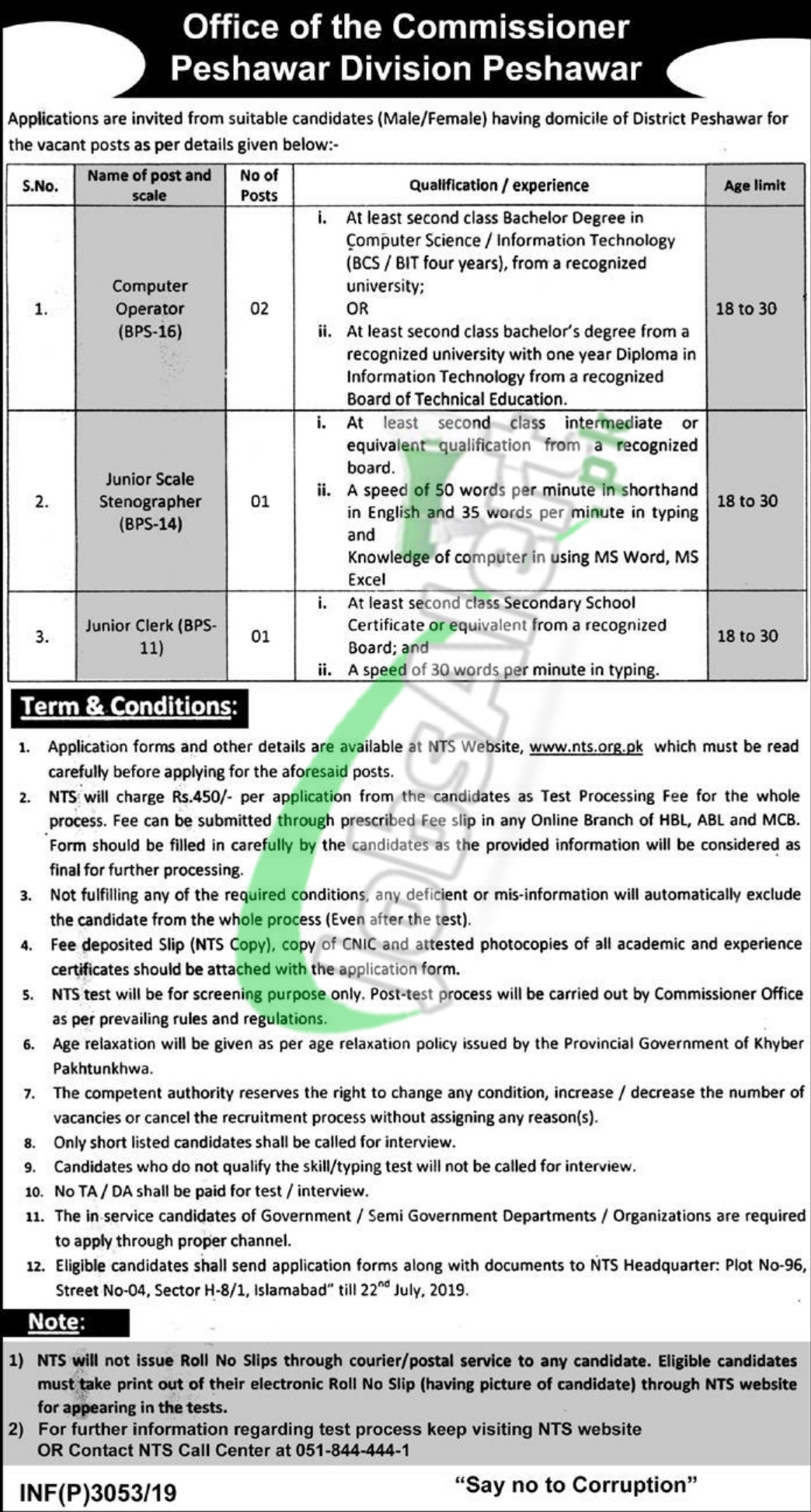 Office of the Commissioner Peshawar Jobs 2019