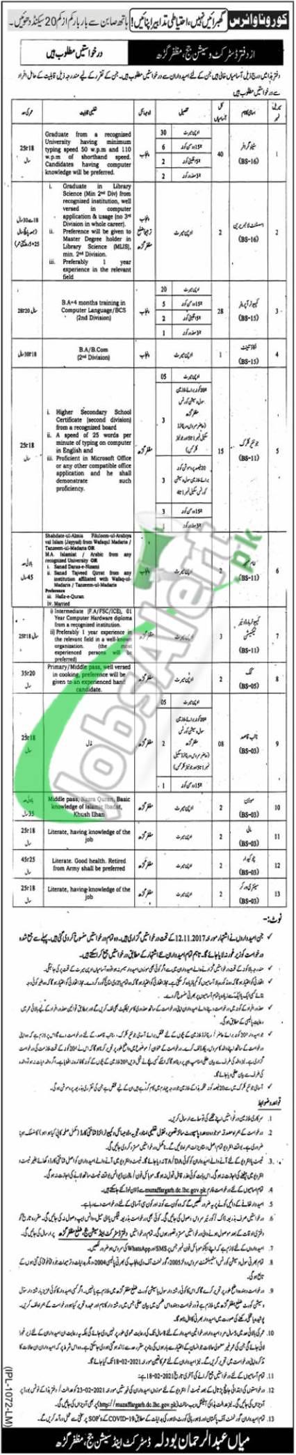 District & Session Court Muzaffargarh Jobs