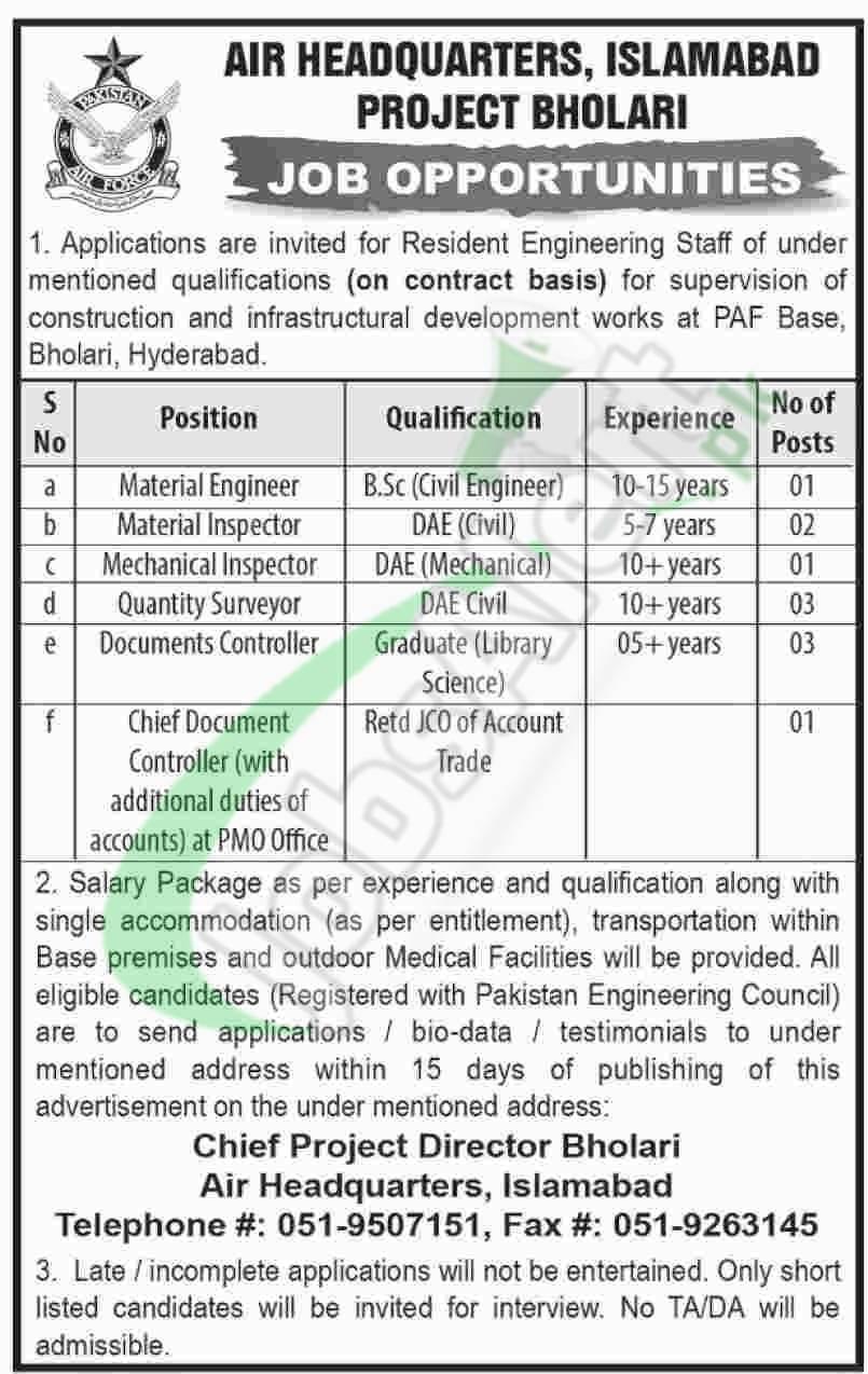 Air Headquarter Islamabad Jobs