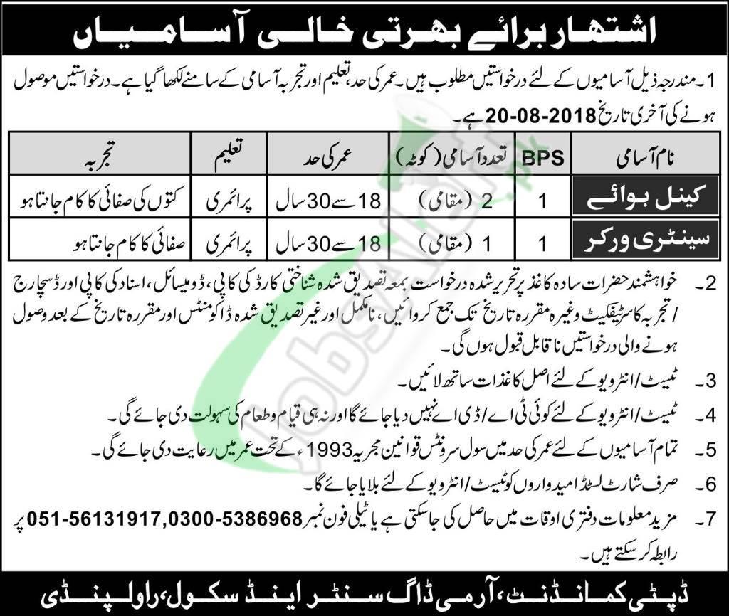 Army Dog Centre and School Rawalpindi Jobs