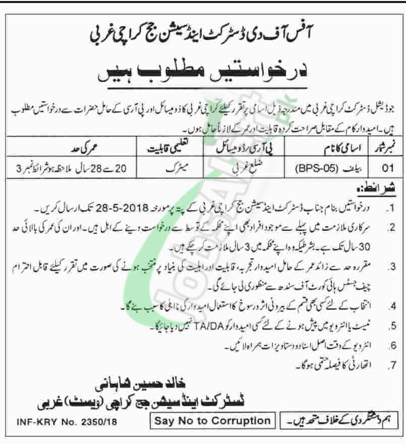 District and Session Court Karachi West Jobs