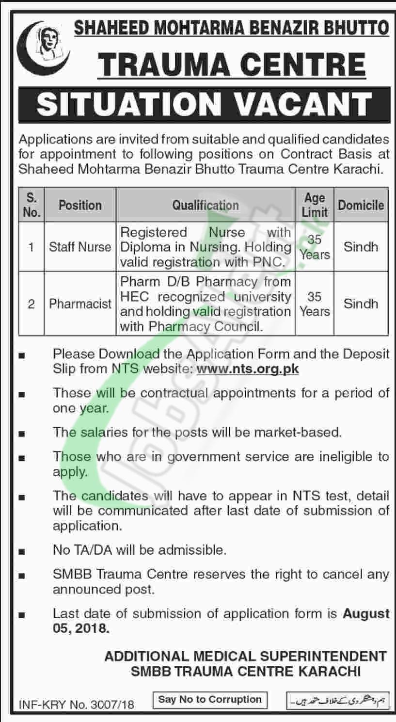 SMBB Trauma Center Karachi Jobs 2018