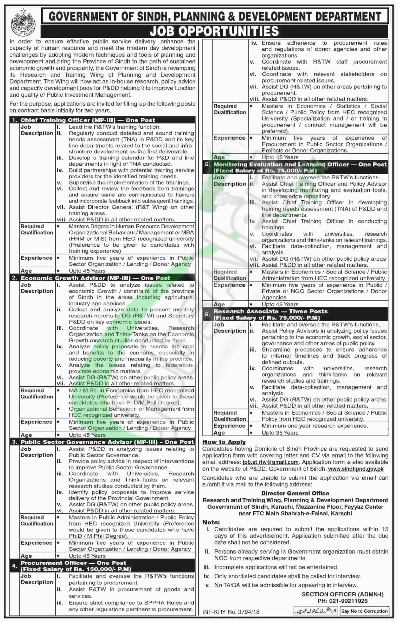 Planning and Development Department Sindh Jobs 2018