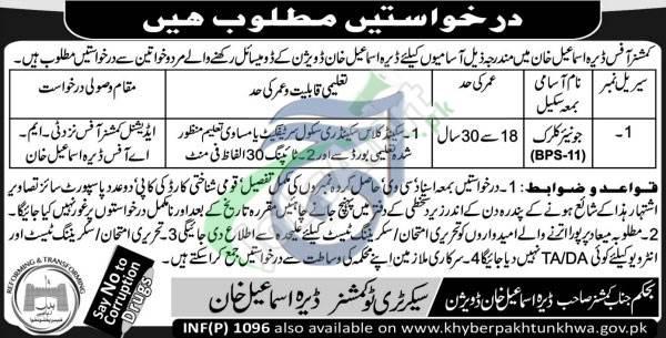 Commissioner Office DI Khan Jobs