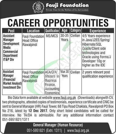 Fauji Foundation Jobs in Rawalpindi
