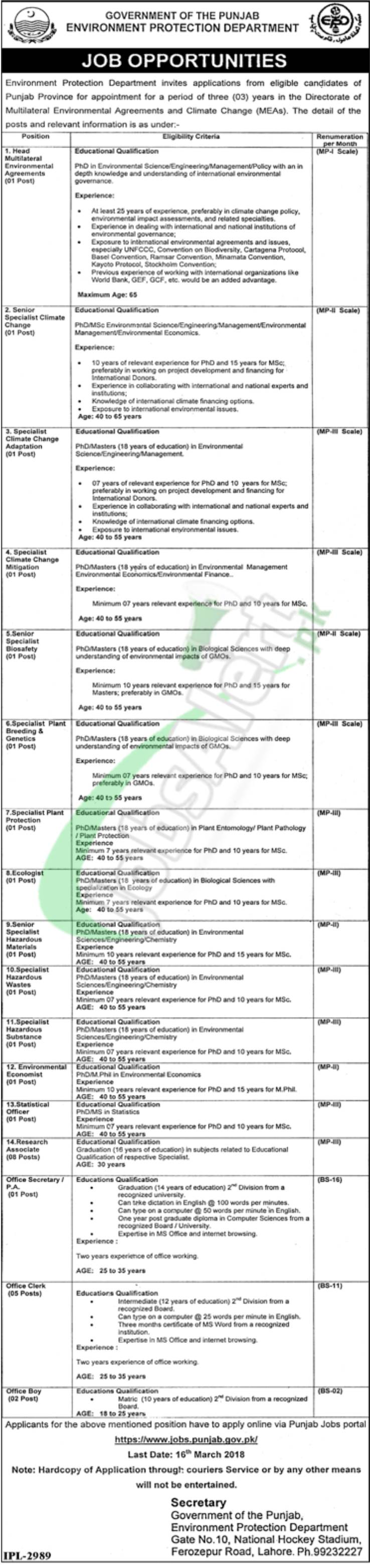 Government Jobs in Lahore 2018