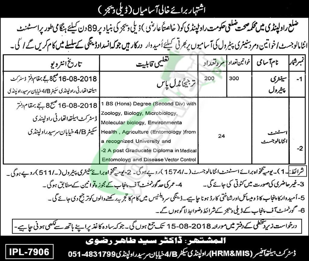 Health Department Rawalpindi Jobs 2018
