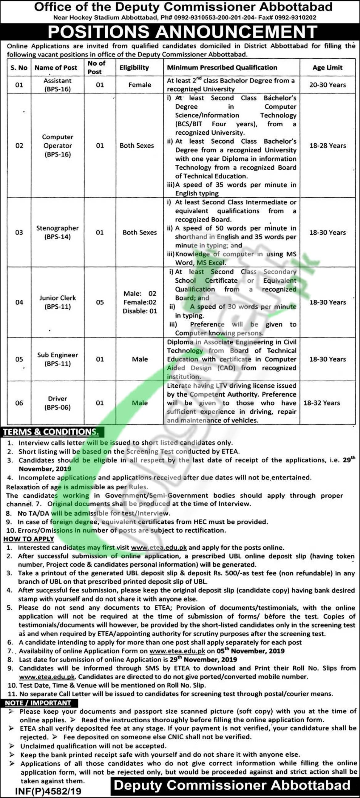 DCO Abbottabad Jobs