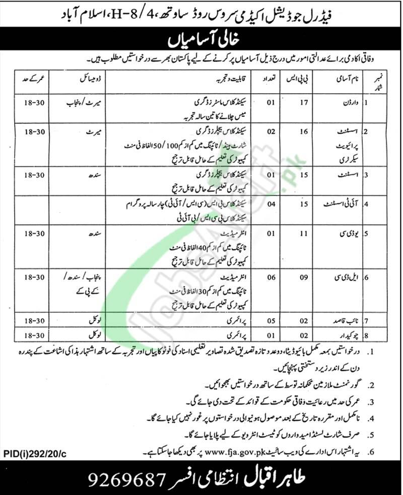 FJA Islamabad Jobs